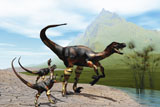CFR200030P © Stocktrek Images, Inc. Velociraptor offspring beg mother dinosaur for food near a pond.