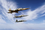 DBR100003M © Stocktrek Images, Inc. An F-5F Tiger II leads two F-5E's during a training flight.
