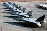 DBR100013M © Stocktrek Images, Inc. F-14A Tomcats on the flight line at NAS Miramar, San Diego, California.