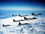DBR100017M © Stocktrek Images, Inc. Four F-14 Tomcats and three F-5 Tiger IIs in flight.