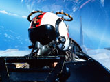 DBR100022M © Stocktrek Images, Inc. A pilot sitting in the back of a two-seater F-14 Tomcat.
