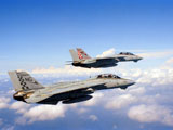 DBR100024M © Stocktrek Images, Inc. F-14A Tomcats in flight during a training mission.