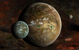 FHV100006S © Stocktrek Images, Inc. A system of extraterrestrial planets and their moons.