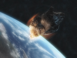 KAU100015S © Stocktrek Images, Inc. Asteroid in front of the Earth.