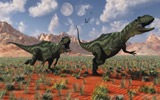 MAS100899P © Stocktrek Images, Inc. A pair of Yangchuanosaurus dinosaurs hunting.