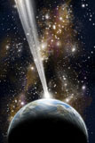 MRC200037S © Stocktrek Images, Inc. An Earth-like planet facing an imminent collision with a comet.