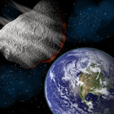 MRC200043S © Stocktrek Images, Inc. Artist's depiction of a large asteroid approaching Earth on a collision course.