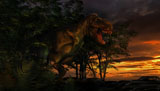 PHB600037P © Stocktrek Images, Inc. Tyranosaurus Rex emerging from a forest on the lookout for prey.