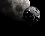 RTA200002S © Stocktrek Images, Inc. Artist's concept of the Aries 1B spacecraft approaching the Moon.