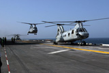 STK102247M © Stocktrek Images, Inc. U.S. Marine Corps CH-46 Sea Knight helicopters aboard the USS Bataan.