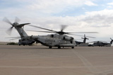 STK102327M © Stocktrek Images, Inc. A CH-53E Super Stallion helicopter taxies down the flight line.