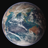 STK201647S © Stocktrek Images, Inc. A full view of Earth showing global data for land surface, polar sea ice, and chlorophyll.