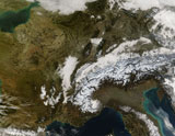 STK201752S © Stocktrek Images, Inc. True-color view of snow, fog, and low clouds in western Europe.