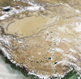 STK203562S © Stocktrek Images, Inc. Satellite view of the Tibetan Plateau.