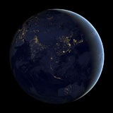 STK204087S © Stocktrek Images, Inc. Full Earth at night showing city lights of Asia and Australia.
