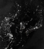 STK204156S © Stocktrek Images, Inc. Satellite view of the Korean Peninsula showing city lights at night.
