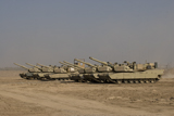 TMO100099M © Stocktrek Images, Inc. M1 Abrams tanks at Camp Warhorse.