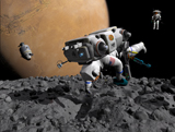 WMY100135S © Stocktrek Images, Inc. An astronaut makes first human contact with Mars' moon Phobos.