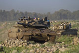 ZDN100107M © Stocktrek Images, Inc. Two Israel Defense Force Merkava Mark IV main battle tanks.