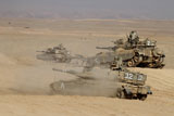ZDN100115M © Stocktrek Images, Inc. A platoon of Israel Defense Force Merkava Mark IV main battle tanks.