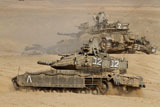 ZDN100116M © Stocktrek Images, Inc. A pair of Israel Defense Force Merkava Mark IV main battle tanks.