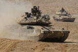 ZDN100120M © Stocktrek Images, Inc. A pair of Israel Defense Force Merkava Mark IV main battle tanks.