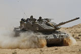 ZDN100121M © Stocktrek Images, Inc. An Israel Defense Force Magach 7 main battle tank in the Negev desert.