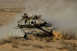 ZDN100125M © Stocktrek Images, Inc. An Israel Defense Force Magach 7 main battle tank in the Negev desert.