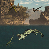 ADR600072P © Stocktrek Images, Inc. Pterodactylus flying over a Dakosaurus attacking a marine reptile.