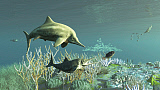 ADR600077P © Stocktrek Images, Inc. An adult and a young juvenile Stenopterygius ichthyosaur hunting for food.