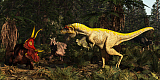 ADR600078P © Stocktrek Images, Inc. Lythronax dinosaur confronts a Diabloceratops in a Cretaceous forest.