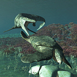ADR600083P © Stocktrek Images, Inc. Tylosaurus proriger preying on a giant Archelon sea turtle.