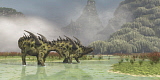 CFR200448P © Stocktrek Images, Inc. A pair of Gigantspinosaurus dinosaurs roaming in the wetlands of China.