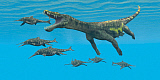 CFR200716P © Stocktrek Images, Inc. A large Nothosaurus reptile preys on Shonisaurus Ichthyosaurs in Triassic seas.