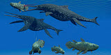CFR200726P © Stocktrek Images, Inc. A Shonisaurus Ichthyosaur stabs a Coelacanth fish in Triassic seas.