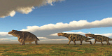 CFR200898P © Stocktrek Images, Inc. Two Inostrancevia dinosaurs go after a Keratocephalus on a grassy plain.