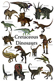 CFR200930P © Stocktrek Images, Inc. Poster of prehistoric dinosaurs during the Cretaceous period.