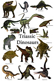 CFR200934P © Stocktrek Images, Inc. Poster of prehistoric dinosaurs and reptiles during the Triassic period.