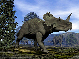 EDV600410P © Stocktrek Images, Inc. Centrosaurus dinosaurs walking amongst magnolia trees.