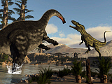 EDV600411P © Stocktrek Images, Inc. Torvosaurus dinosaur fighting an Apatosaurus.