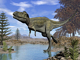 EDV600416P © Stocktrek Images, Inc. Alioramus dinosaur walking in a stream.