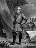 JPA101155M © Stocktrek Images, Inc. General Robert E. Lee standing in a Confederate Army camp.