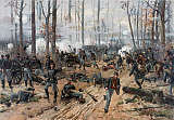 JPA101173M © Stocktrek Images, Inc. Civil War painting of Union and Confederate troops at The Battle of Shiloh.
