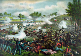JPA101176M © Stocktrek Images, Inc. Civil War painting of Union and Confederate troops fighting at The Battle of Bull Run.