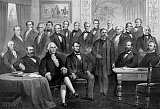 JPA101177M © Stocktrek Images, Inc. Vintage print of the first twenty-one Presidents seated together in The White House.
