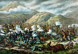 JPA101183M © Stocktrek Images, Inc. Vintage military print featuring The Battle of Little Bighorn.