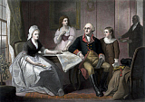 JPA101187M © Stocktrek Images, Inc. American history print of the Washington family seated at a table.