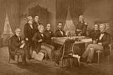JPA101188M © Stocktrek Images, Inc. Vintage Civil War print of President Abraham Lincoln and his cabinet.