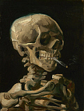 JPA101260M © Stocktrek Images, Inc. Skull of a Skeleton with Burning Cigarette painting by Vincent van Gogh, 1886.