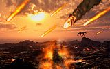 MAS100940P © Stocktrek Images, Inc. A falling asteroid and meteorites mark the end of the dinsoaurs rule of the Earth.
